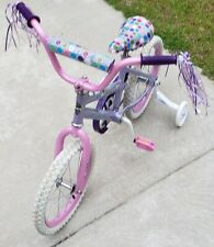 Toddlers Pink and White Bicycle with Training Wheels Huffy