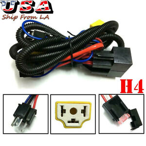 2X Headlight H4 Relay Wiring Harness Ceramic Socket Plug Kit For Pickup H6054