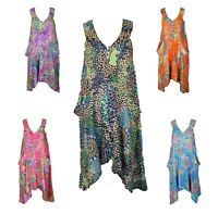 Lagenlook V Neck Tunic Dress Boho Hippie Beach Kaftan Size 16 18 20 22 24 26