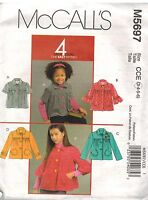 5697 Vintage McCalls Sewing Pattern Girls Loose Fitting Unlined Jackets Easy OOP