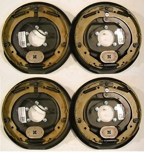 """(4 x) 12""""x 2"""" Electric Trailer Axle Backing Plates Complete Brakes Left & Rt RV"""