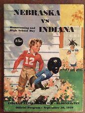 1939 Nebraska vs Indiana Football Program BO MCMILLAN vs BIFF JONES/VIKE FRANCIS