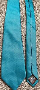 """Mens Next teal blue striped smart formal polyester classic tie 3"""" wide 59"""" long"""