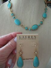 NWT Lauren Turquoise Teardrop Drop Earrings/ Necklace Gold Tone/ Clear Stones