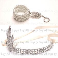 HOT Argenté 1920's Flapper Great Gatsby Bandeau Serre-Tête + Bracelet de Perles