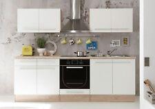 Küche WEX Küchenblock Küchenzeile Komplettküche 240cm Singleküche Miniküche weiß