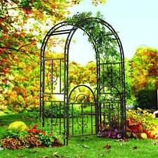 Garden Gate Trellis Arch Metal Sturdy Wrought Iron Wedding Arbor Yard Bronze New