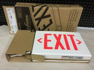 Lot of 4 NEW Dual Lite Hubbell LED Exit Sign LXURWEI-WM Use-By 2015