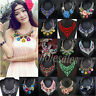 Charm Woman Crystal Flower Pendant Chain Statement Bib Chunky Choker Necklace