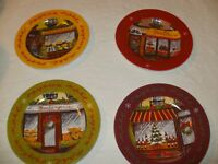 Cypress Home Joyeux Noel Dessert Plate Set Of 4 - 8 inch Dia. - NEW-IN-BOX