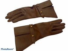 """Vtg 70s Lee Begman Brown Vinyl Lined Gloves Size Medium Japan 11 1/2"""" long Nwot"""