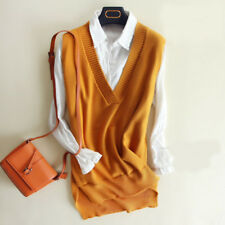 Womens Knit Cotton Sweater Vest V-neck Warm Pullover Kniwear Outwear Waistcoat L
