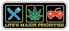 """Major Priorities Marijuana Weed Pot Games Funny Bumper Vinyl Sticker Decal 7X3"""""""