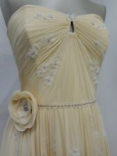 Jenny Packham wedding dress caramel 100% silk strapless boned corset UK12
