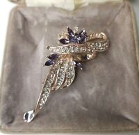 Brand New Art Deco Style Purple Rhinestone Rose Gold Brooch Vintage Style Gift
