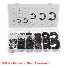 300pcs/set E-Clip 9 Size Circlips Ring Shafts Snap Retaining Washer Buckle Rings