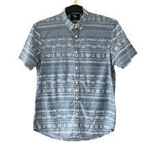 Mens Shirt M Chest 38'' Short Sleeve Aztec Stripe Print Colalr Button Holiday
