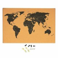 """Cork Board Map of The World - Wall Mount Bulletin Board with Pins, 23.5 x 15.75"""""""