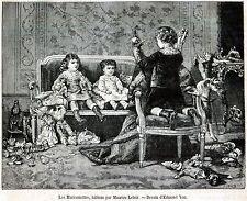 Teatro dei Burattini: Bambini che giocano. Guignol.Marionette.Stampa Antica.1877