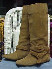 DIANE von FURSTENBERG pull on beige suede knee high boots,  sz. 6 1/2 C
