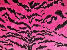 DESIGNER ITALIAN TIGRESA TIGER TIGRE STRIE SILK VELVET FABRIC 5 YARDS PINK BLACK