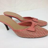 Women's Enzo Angiolini Slip On Pink Shoes Mules Bow Open Heel Woven Size 6.5 M