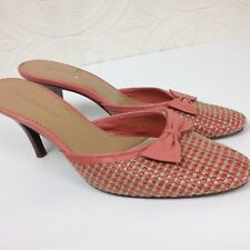 feadd86e387 Women s ENZO ANGIOLINI Slip On Pink Shoes Mules Bow Open Heel Woven Size  8.5 M