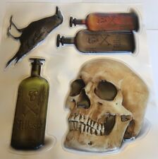3D Skull Raven Poison Bottles Halloween Clings Sticky Reusable Windows Mirrors