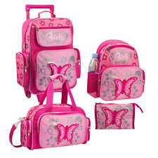 STEFANO Set Kinder Trolley Rucksack Sporttasche Kulturtasche rosa Schmetterling