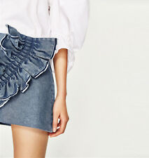 9375121742 NWOT ZARA Frilled Denim Mini Skirt With Oversize Frill Ruffle Size S   Small