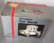 Vintage80s#  Silver Plated Ford Model T Coupe Car Money Box Piggy Bank#NIB