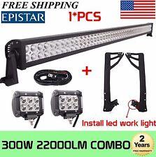 "52"" 300W+2X 4"" 18W LED Light Bar+Wiring Kit+Mount Brackets For Jeep JK Wrangler"