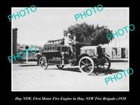 OLD LARGE HISTORIC PHOTO OF HAY NSW THE NSW FIRE BRIGADE 1st TRUCK IN HAY c1920