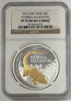 2012 Gilt Niue Silver $2 Florida Alligator NGC PF 70 Ultra Cameo