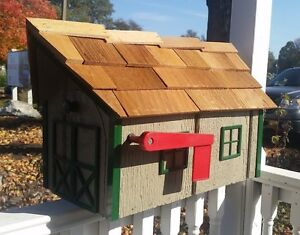 Amish Crafted Grey Clay-Tone Green Trm Barn Style Mailbox - Lancaster County PA