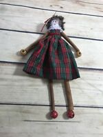 Christmas Holiday Doll Ornament Small Cinnamon Sticks Plaid Dress Home Decor
