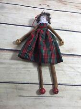 Christmas Holiday Doll Ornament Small Cinnamon Sticks Plaid Dress