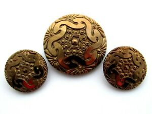 LARGE Antique Glass Gold Luster Buttons Matching Lot Intricate Design Czech