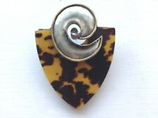 Vintage FABRICE Paris Signed Pin Brooch Modernist Silver-tone +Faux Tortoise