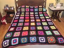 Hand-Crocheted Granny Square Afghan Blanket Black with Brightly Colored Squares