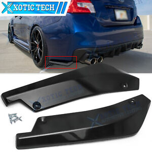 For Subaru WRX STI Rear Bumper Splitter Diffuser Canards - Gloss Black Texture