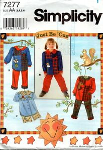 1990s Simplicity Sewing Pattern 7277 Child's Pants and Shorts Set Size 3-6