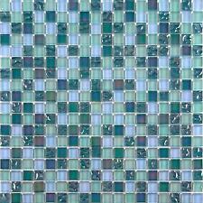 Iridescent Glass Mosaic Wall Tiles Bathroom Lustrous Green Blue Mix MT0097