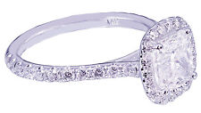 14K White Gold Cushion Cut Diamond Engagement Ring Halo Art Deco prong 2.00ctw