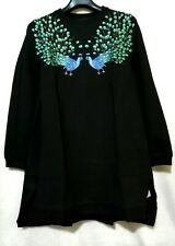 Peacock Embroidered Bejeweled Sweater