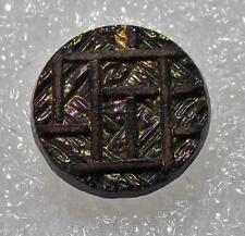 """Antique Iridescent Black Glass Button Carnival Luster Hash Marked 5/8"""""""