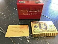 TWO (2) SETS of 24K Karat Gold Plated Poker Playing Cards With Wood Box