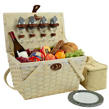 Traditional American Style Picnic Basket with Service for 4 - Black Gingham