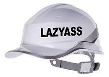 2X LAZYASS Hard Hat vinyl decal. Warehouse sticker transfer CUSTOM COLOUR & FONT