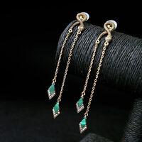 Rings` Ears Nails Snake Engraving Long Thread Fine Malachite Green Retro BB10